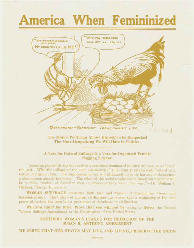 "An anti-suffrage political cartoon titled ""America When Feminized."""