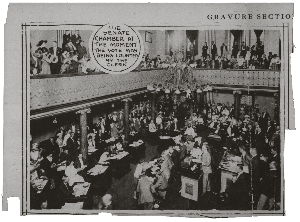 The Tennessee Senate at the moment the vote for the ratification of the 19th Amendment was being counted.