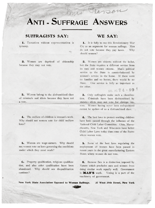 An anti-suffrage poster explaining the beliefs of the movement against women's right to vote.
