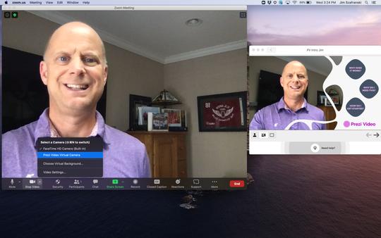 Jim Szafranski shows Prezi graphic tools for Zoom