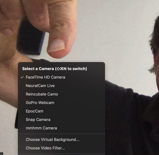 Choose video camera in Zoom