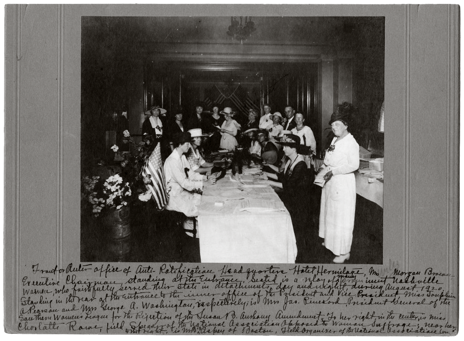 Anti-suffragists gather in Nashville's Hermitage Hotel during the 1920 fight for and against women's suffrage.