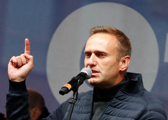 Russian opposition leader Alexei Navalny speaks during a rally to support political prisoners in Moscow on Sept. 29, 2019.