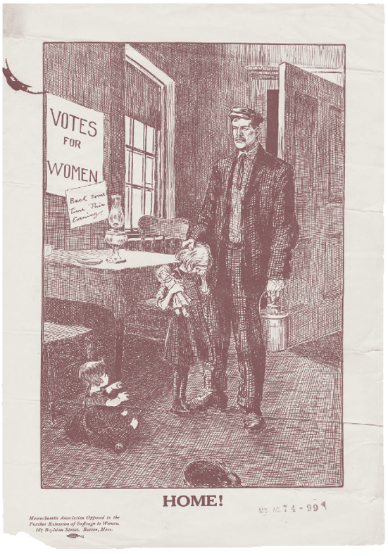 """An anti-suffrage illustration titled """"Home!"""" shows a father coming home to crying children"""