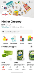 Screenshot of a DoorDash Meijer delivery order.