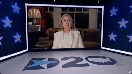 In this screenshot from the DNCCs livestream of the 2020 Democratic National Convention, former first lady and Secretary of State Hillary Clinton addresses the virtual convention on August 19, 2020.