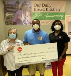 Our Daily Bread Soup Kitchen was one of the organizations who received a donation from Rheem. Pictured are Monica Peter, senior office coordinator, Rheem; Gene Woodle, executive director, Our Daily Bread Soup Kitchen; and Angela Chapman, human resources business partner, Rheem.