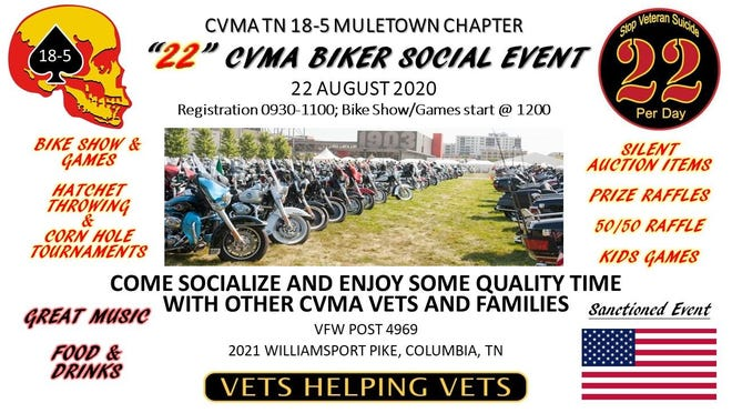 Bikers and motorcycle enthusiasts will salute veterans this Saturday with an all-day social, featuring bike shows and tournament games, including hatchet throwing and cornhole. The '22' social is to raise money and awareness for veterans who commit suicide, which is 22 per day.