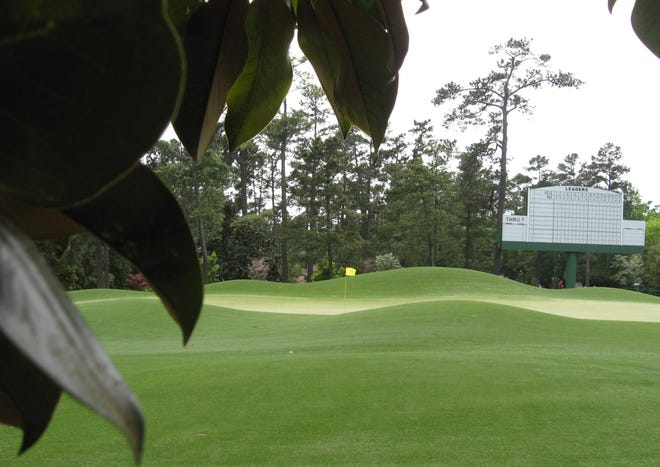 An empty eighth hole at Augusta National, viewed from the strand of thick magnolias between the first and ninth fairways. [N-J/Ken Willis]