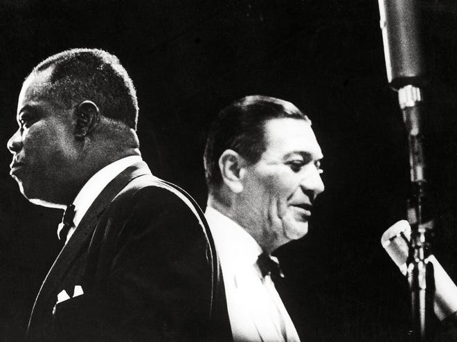 "Louis Armstrong, left, in ""Jazz on a Summer's Day."""