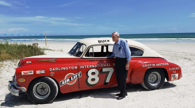 Paul Goldsmith is reunited with an Oldsmobile he raced on the Daytona Beach and Road Course in 1958.