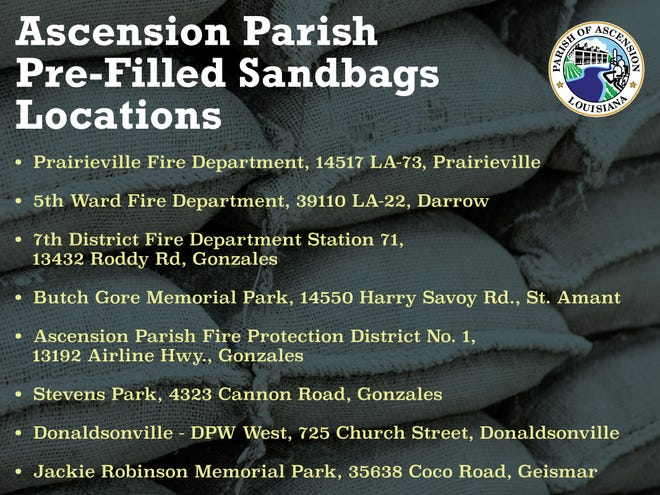 Sandbag locations across Ascension Parish.