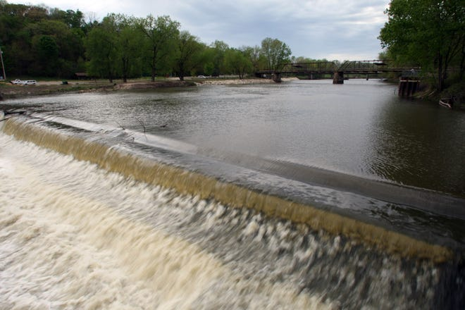 The Oakland Mills dam on the Skunk River is shown April 15, 2012 south of Mount Pleasant.