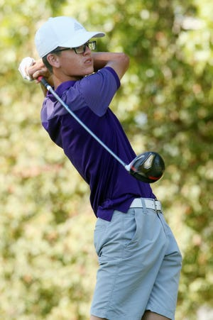Burlington High School golfer Nate Spear tied for third place in the Assumption Invitational on Wednesday at Emeis Golf Course in Davenport, helping the Grayhounds finish second in the team race. [John Lovretta/thehawkeye.com]