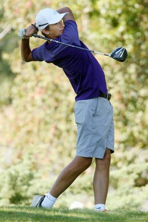 Burlington High School golfer Mateo Rascon, during the team's match against Ottumwa High School, Friday Aug. 21, 2020 at the Burlington Golf Club. [John Lovretta/thehawkeye.com]
