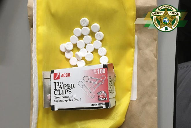The pills sold to an undercover detective on Friday, and the box they were found in, the Clay County Sheriff's Office said.