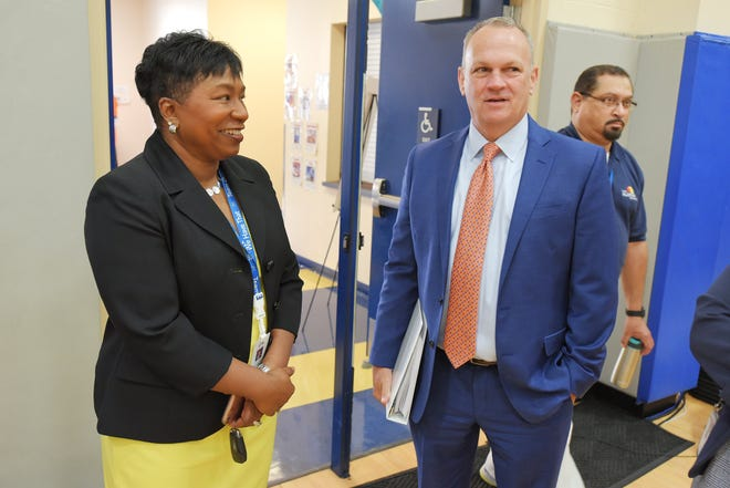 Duval County Schools Superintendent Diana Greene talks with State Board of Education Commissioner Richard Corcoran on Sept. 20, 2019.