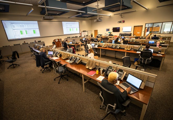 The call center at the Polk County Emergency Operations Center in Winter Haven. ERNST PETERS/THE LEDGER