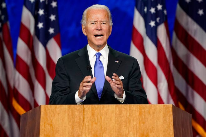 Democratic presidential candidate former Vice President Joe Biden speaks during the fourth day of the Democratic National Convention on Thursday at the Chase Center in Wilmington, Del.