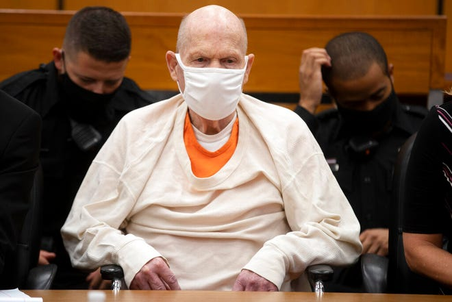 Joseph James DeAngelo sits in court during the third day of victim impact statements at the Gordon D. Schaber Sacramento County Courthouse on Thursday, Aug. 20, 2020, in Sacramento, Calif. DeAngelo, 74, a former police officer in California eluded capture for four decades before being identified as the Golden State Killer. DeAngelo pleaded guilty in June to 13 murders and 13 rape-related charges stemming from crimes in the 1970s and 1980s.