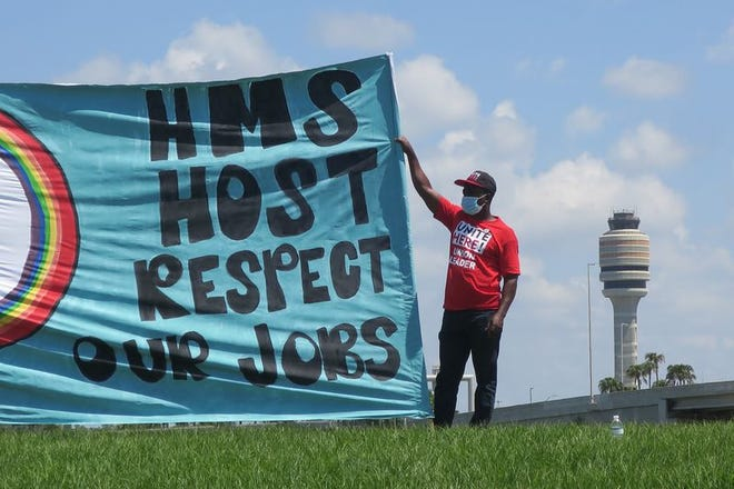 Restaurant workers furloughed by HMSHost at Orlando International Airport call for fair standards and health protections when rehired.