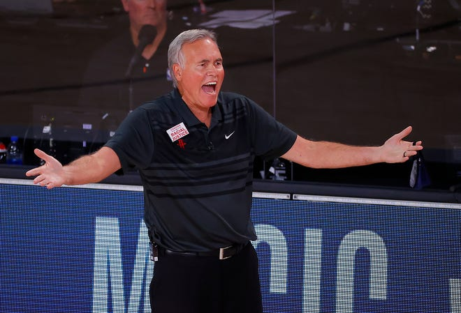 Houston coach Mike D'Antoni has led the Rockets to a 2-0 series lead over Oklahoma City in their first-round series that resumes Saturday in Lake Buena Vista, Fla. [Kevin C. Cox/Pool Photo via AP]