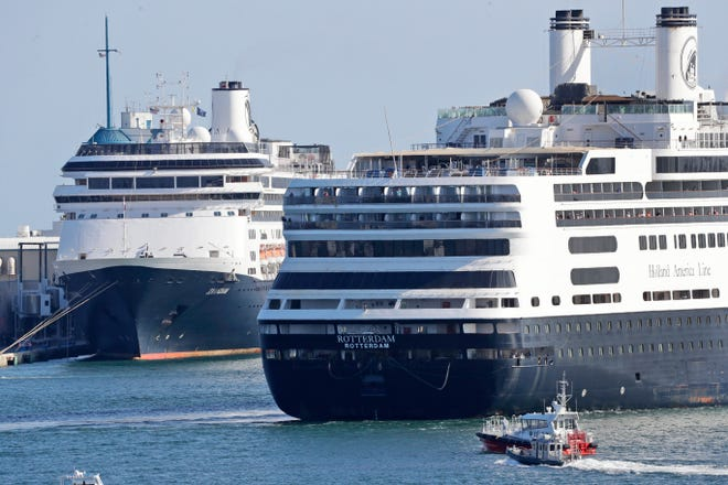 Cruise ships at Port Everglades in 2020.