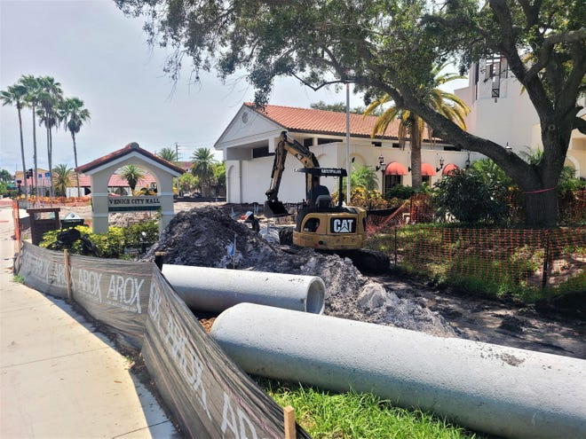 Stormwater pipes along the Venice Avenue entrance to Venice City Hall will be installed as part of the $11.94 million expansion project at Venice City Hall, which also includes construction of a new building for Fire Station 1.