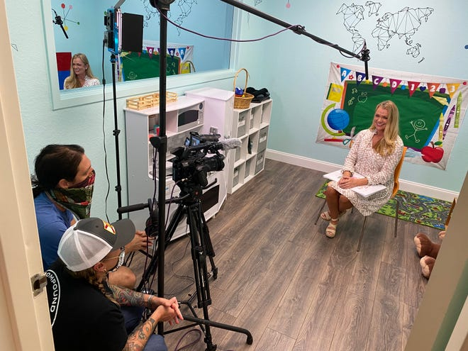 "Mitzi Howard, an educator with the Child Protection Center, films a workshop on ""the touching rule"" to be used in schools in the fall. The CPC is one of several area nonprofits that has adapted to reach clients virtually."