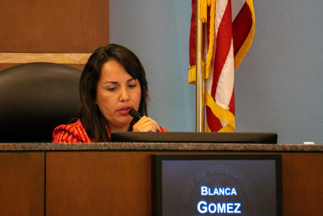 Victorville Council Member Blanca Gomez speaks during a meeting in August 2019.