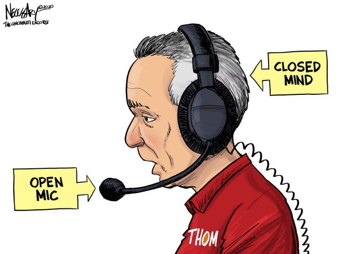 Thom Brennaman said a homophobic slur during a Cincinnati Reds broadcast, believing his microphone was off. He was quickly pulled from the broadcast, and has since been suspended by the Reds.