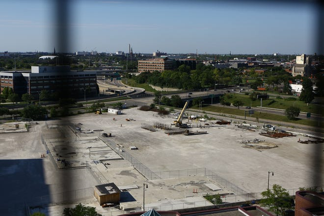 The construction site for the University of Michigan Innovation Center along Gratiot on Aug. 20, 2020.