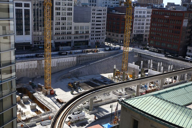 The Hudson's construction site along Woodward on Aug. 20, 2020.