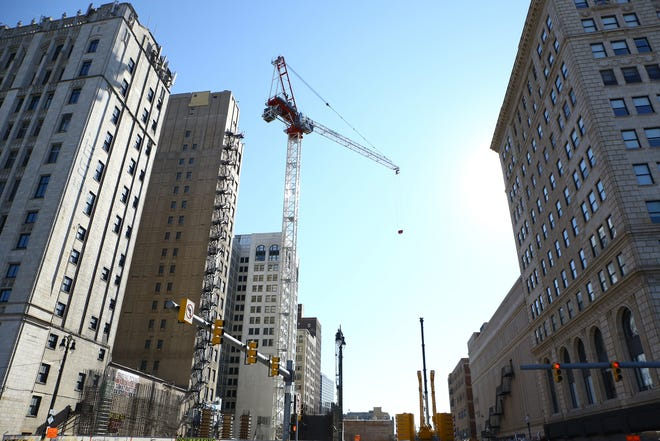 The construction site of the new TCF Headquarters on Woodward on Aug. 20, 2020.