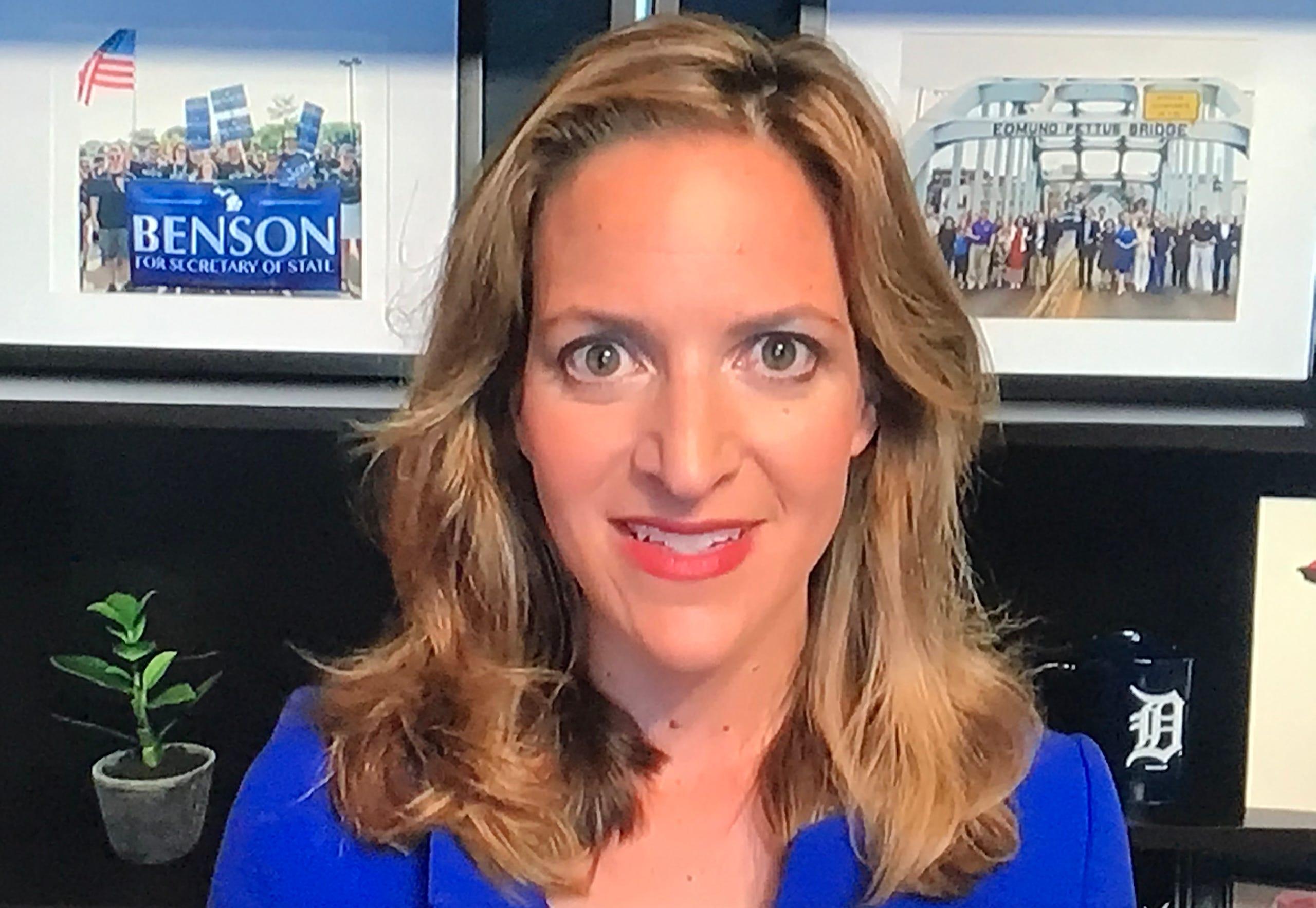 Michigan Secretary of State Jocelyn Benson speaks at Democratic National Convention on Thursday, Aug. 20, 2020.