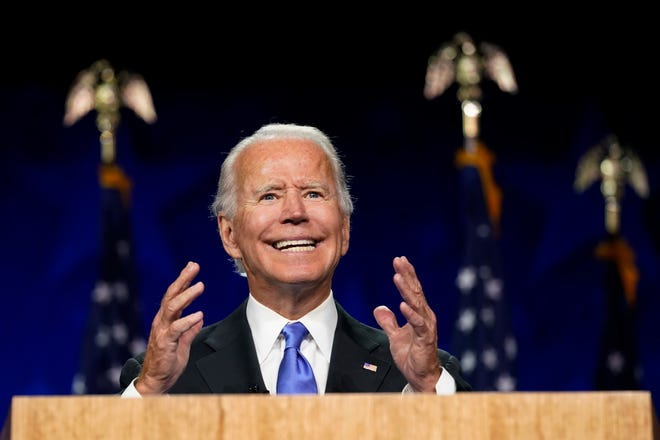 Democratic presidential candidate former Vice President Joe Biden speaks Thursday at the Chase Center in Wilmington, Del.during the fourth day of the Democratic National Convention.