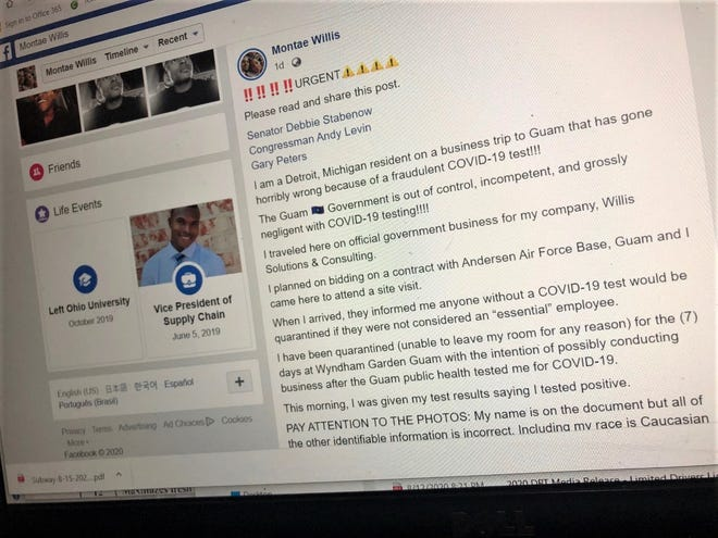 A photo of one of the early posts by Montae Willis on Facebook, where he describes being a victim of fraud and incompetence while in isolation in a Government of Guam quarantine facility.