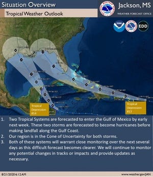The National Weather Service in Jackson says both tropical systems in the Gulf of Mexico have the potential to impact Mississippi.