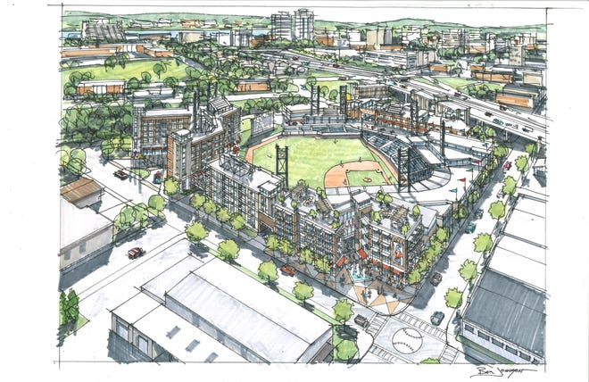 A rendering shows the aerial view from the east of a proposed baseball stadium and adjacent restaurant, retail and residential development in Knoxville's Old City.