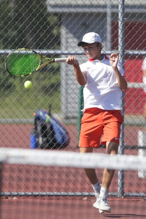 West Lafayette's Aidan William hits the ball during an IHSAA tennis match against Harrison's Aaron Gu, Thursday, Aug. 20, 2020 in West Lafayette.