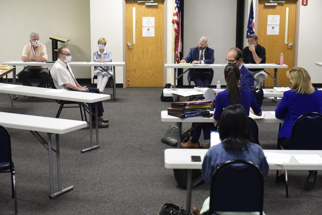 Mansfield Law Director John Spon testifies before the Richland County Board of Elections on Thursday.