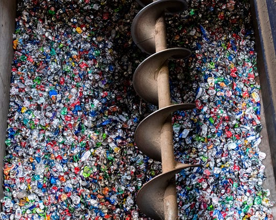 Aluminum cans are gathered after being pulled from garbage at the RePower South Recycling Facility in Montgomery, Ala., on Friday August 21, 2020.