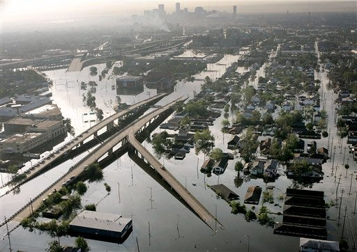 Floodwaters from Hurricane Katrina fill the streets near downtown New Orleans, in this Aug. 30, 2005, file photo.