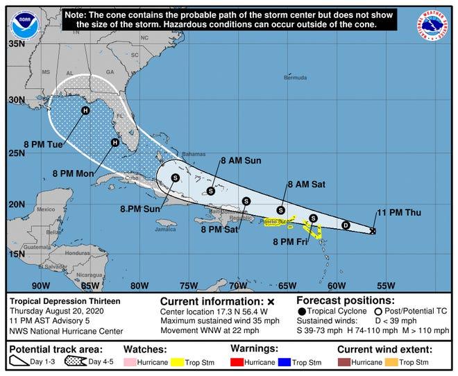 Tropical Depression Thirteen's advisory at 11 p.m., Thursday, Aug. 20, 2020.