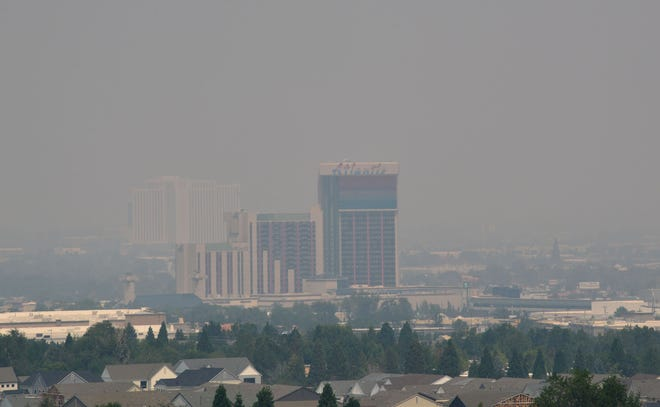 A view of the Reno skyline as seen from Audrey Harris Park on Windy Hill on Friday August 21, 2020. The California wildfire give Reno an unhealthy air quality and about a 3-mile visibility.