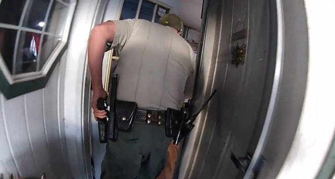 Screen shots of body worn cameras of Lyon County Sheriff's Deputies during the moments before Robert Anderson was shot.