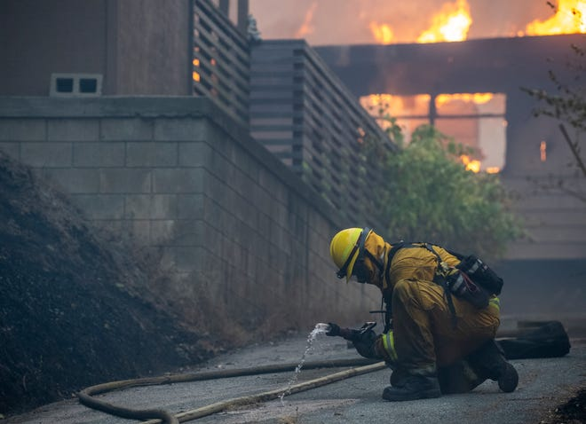 The River Fire gained speed near Manzanita Way, River and Mesa roads in Salinas, Calif., on Aug. 20, 2020 casting multiple fires and structure damages. There's 937 Firefighters from across the state trying to contain the fire and protect the homes around these roads.
