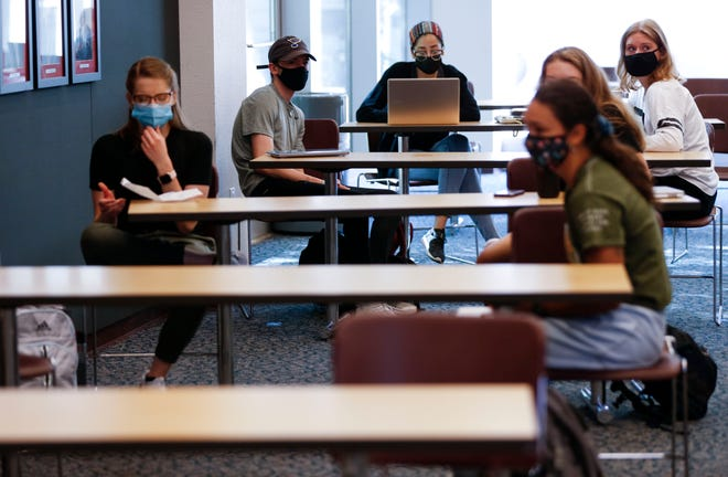 A class meets with students spaced out at Drury University on Friday, Aug. 21, 2020.