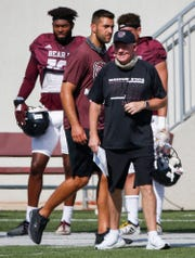 Head coach Bobby Petrino smiles during Missouri State's scrimmage at Plaster Stadium on Friday, Aug. 21, 2020.