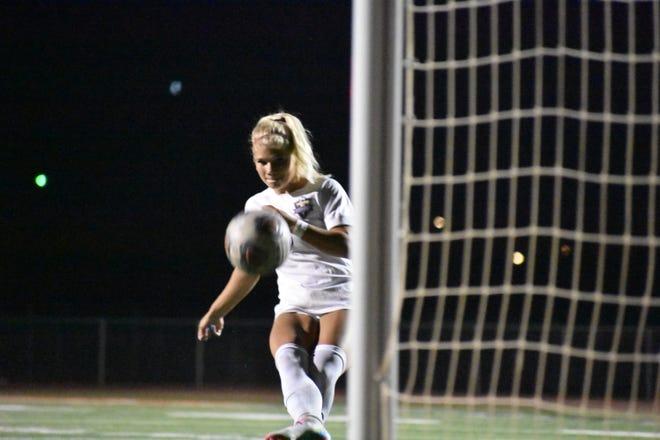 Desert Hills Maia Parry fires a penalty kick.
